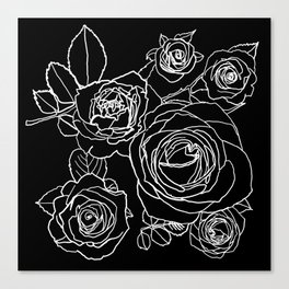 Feminine and Romantic Rose Pattern Line Work Illustration on Black Canvas Print