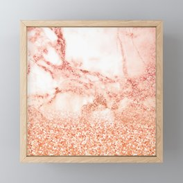 Sparkly Peach Copper Rose Gold Ombre Bohemian Marble Framed Mini Art Print