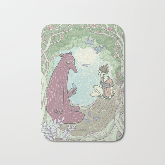 Bear and Bird Bath Mat