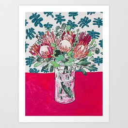 Bouquet of Proteas with Matisse Cutout Wallpaper Art Print