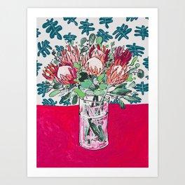 Bouquet of Proteas with Matisse Cutout Wallpaper Kunstdrucke