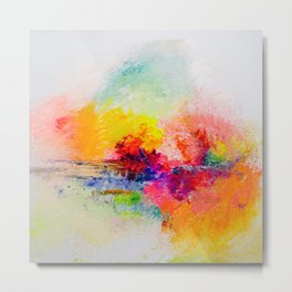 Colorful Abstracted Landscape Painting Print Metal Print