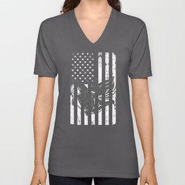 National Fish Fishing Distressed American Flag Unisex V-Neck