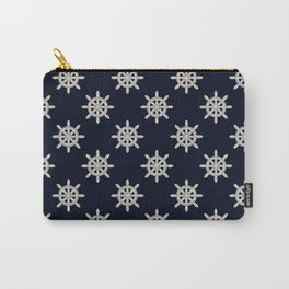 Maritime Design - Nautic Wheel in white on darkblue background Carry-All Pouch