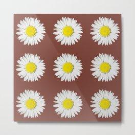 Retro Daisy · Brown Metal Print