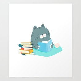 Cute Cat Reading Book Coffee Lover Bookworm Art Print