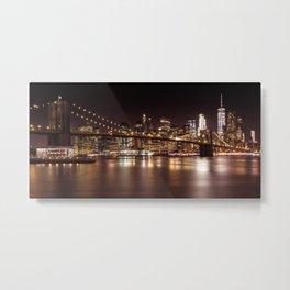 MANHATTAN SKYLINE & BROOKLYN BRIDGE Sunset | Panoramic Metal Print