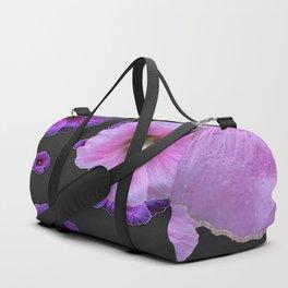 ASYMMETRICAL  PINK-PURPLE  HOLLYHOCKS ON DARK CHARCOAL GREY ART Duffle Bag