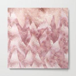 Abstract Rosegold Blush Glitter Mountain Dreamscape Metal Print