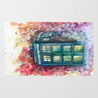 doctor Area & Throw Rugs featuring Doctor Who Tardis by Jessi Adrignola