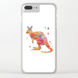 Colorful Kangaroo Clear iPhone Case