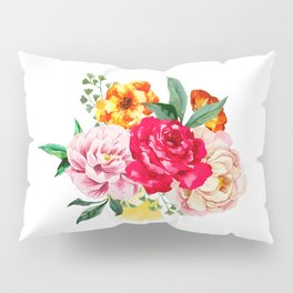 Watercolor Spring Flowers Pillow Sham