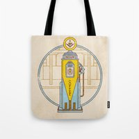 pocket fuel Tote Bags featuring Fuel Up by Rachael Sinclair