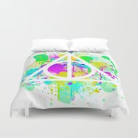 deathly hallows Duvet Covers featuring The Deathly Hallows by Christina