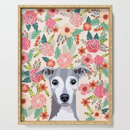 Italian Greyhound floral pet portrait wall art and gifts for dog breed lovers Serving Tray