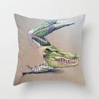crocodile Throw Pillows featuring Crocodile by Jeanne Hollington