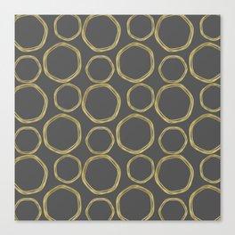 Grey & Gold Circles Canvas Print