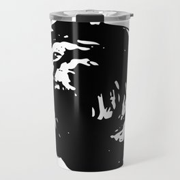 Whorl Black on White Travel Mug