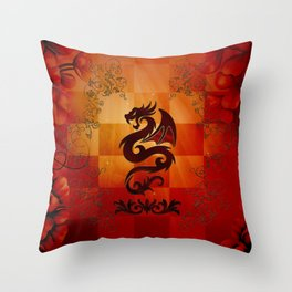 Awesome dragon with floral elements Throw Pillow
