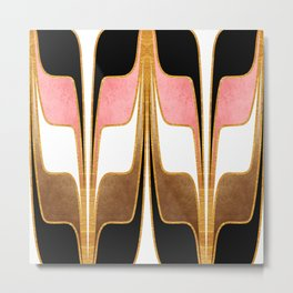 Mid Century Modern Liquid Watercolor Abstract // Gold, Blush Pink, Brown, Black, White Metal Print