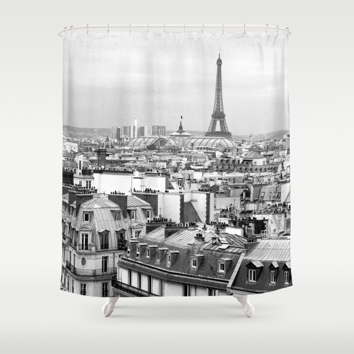 Paris Rooftops And The Eiffel Tower Shower Curtain