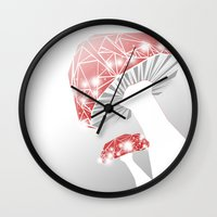 mushrooms Wall Clocks featuring MUSHROOMS by ARCHIGRAF