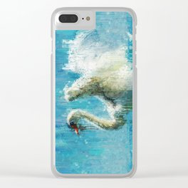 Painted White Swan Clear iPhone Case