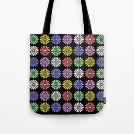 Pastel Flowers Pattern (On Black) Tote Bag