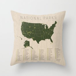 US National Parks w/ State Borders Throw Pillow