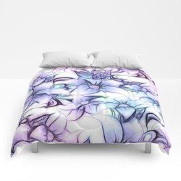 Violet pink teal hand painted sketch elegant floral Comforters