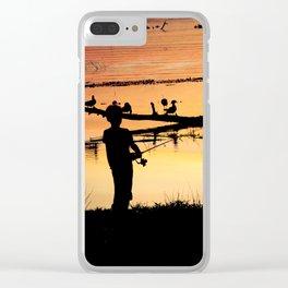 Little Boy Fishing Clear iPhone Case