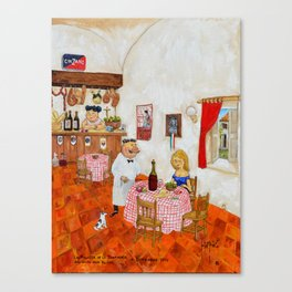 The Girl of the Trattoria La Ragazza de la Trattoria Original Oil on Canvas Juan Manuel Rocha Kinkin Canvas Print