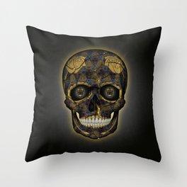 Skull Yellow | Tessellating Skulls Pattern | M. C. Escher Inspired Geometric Artwork by Tessellation Throw Pillow