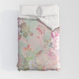 Vintage botanical blush pink mint green floral pattern Comforters
