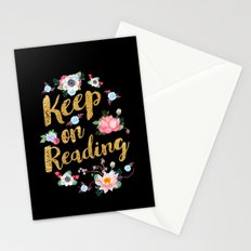 Keep On Reading Gold Foil - Black Stationery Cards