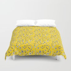 Yellow Flora Duvet Cover