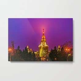 Moscow State University At Misty Winter Night Metal Print