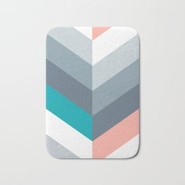 Vertical Chevron Pattern - Teal, Coral and Dusty Blues #geometry #minimalart #society6 Bath Mat