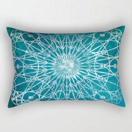 Rosette Window - Teal Rectangular Pillow