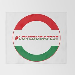 Hashtag Love Budapest, circle, color Throw Blanket