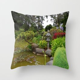Japanese Garden Lantern Throw Pillow