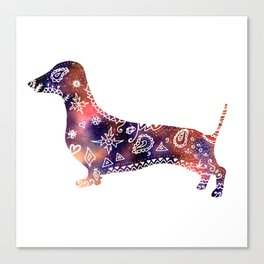 Dachshund Mandala watercolor art Canvas Print