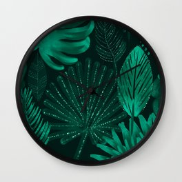 Emerald botanical - tropical ferns and palms Wall Clock