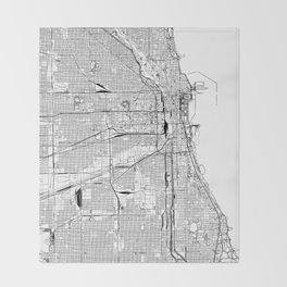 Chicago White Map Throw Blanket