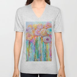 Colorful Flowers Abstract Unisex V-Neck