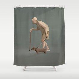 Old man's best friend Shower Curtain