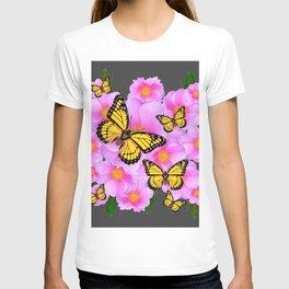 PINK ROSES YELLOW MONARCH  CHARCOAL ART T-shirt