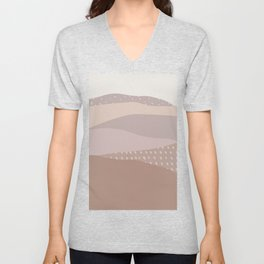 Muted Dusty Abstract Mountain Landscape Unisex V-Neck