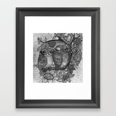 Owl in black and white Framed Art Print