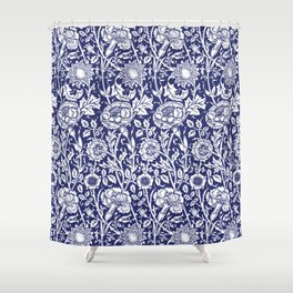 "William Morris Floral Pattern | ""Pink and Rose"" in Navy Blue and White Shower Curtain"